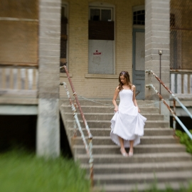 Bride at Grand Traverse Commons by Traverse City Wedding Photographer Thomas Kachadurian
