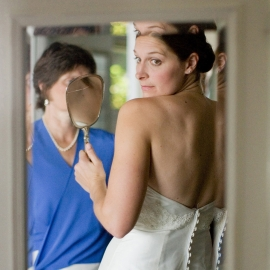 Bride in mirror by Traverse City Wedding Photographer Thomas Kachadurian
