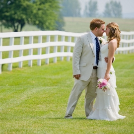 Bride and Groom at Crooked Creek Ranch by Traverse City Wedding Photographer Thomas Kachadurian