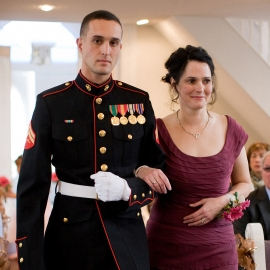 Marine with mother of the bride by Traverse City Wedding Photographer Thomas Kachadurian