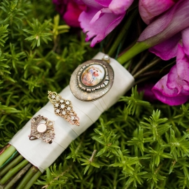 Bridal Bouquet with antique brroch by Traverse City Wedding Photographer Thomas Kachadurian