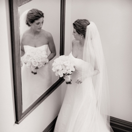 Bride in the mirror at the Perry Hotel by Traverse City Wedding Photographer Thomas Kachadurian