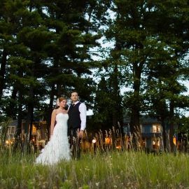 Bride and Groom at Mission Table in Bowers Harbor by Traverse City Wedding Photographer Thomas Kachadurian