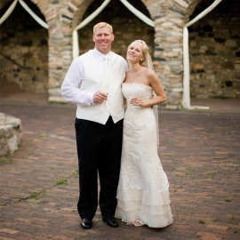 Wedding couple in the Queens Court at Castle Farms by Traverse City Wedding Photographer Thomas Kachadurian