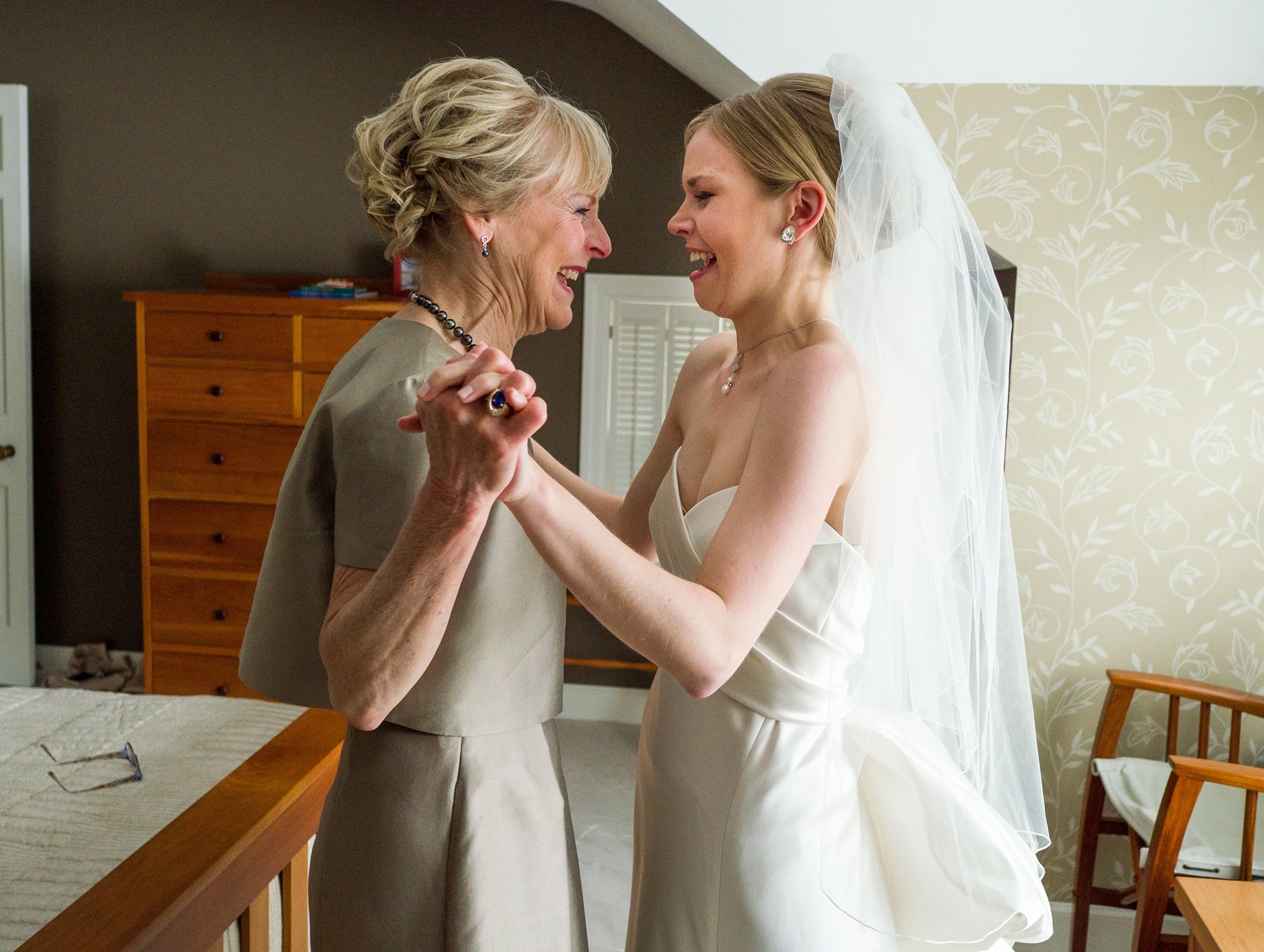 Bride and her mother by Traverse City Wedding Photographer Thomas Kachadurian