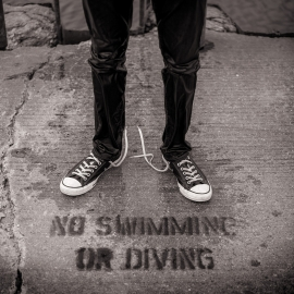 No Swimming or Diving by Traverse City Portrait Photographer Thomas Kachadurian