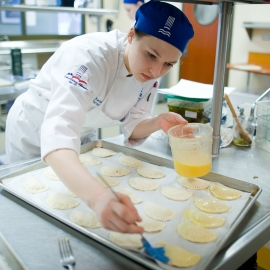 Student at the Northwestern Michigan College Culinary Institue by Traverse City Portrait Photographer Thomas Kachadurian