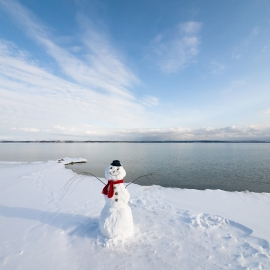 Snowman on East Grand Traverse Bay by Traverse City Photographer Thomas Kachadurian