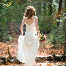 Red head bride in the woods by Traverse City Wedding Photographer Thomas Kachadurian