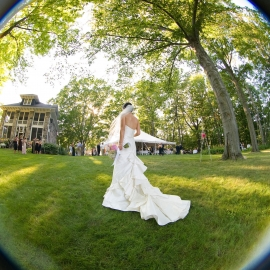 Bride photographed with a fish-eye lens by Traverse City Wedding Photographer Thomas Kachadurian
