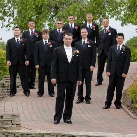 Groomsmen on a stone path by Traverse City Wedding Photographer Thomas Kachadurian