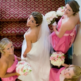 bride with bridesmaids at the Perry Hotel by Traverse City Wedding Photographer Thomas Kachadurian