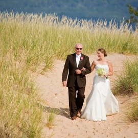 Bride and father at Sleeping Bear Dunes by Traverse City Wedding Photographer Thomas Kachadurian
