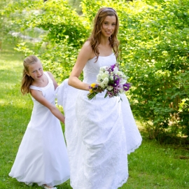 Bride with flower girl at Hannah Park by Traverse City Wedding Photographer Thomas Kachadurian