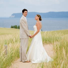 Bride and Groom at Sleeping Bear Dunes by Traverse City Wedding Photographer Thomas Kachadurian