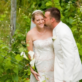 Bride and Groom at Ciccone Vineyard by Traverse City Wedding Photographer Thomas Kachadurian