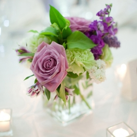 Wedding Table Flowers by Traverse City Wedding Photographer Thomas Kachadurian
