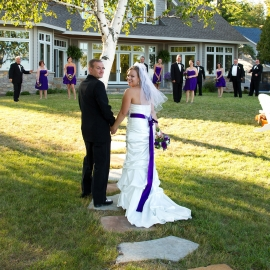 Bride and Groom at Crystal Lake Home by Traverse City Wedding Photographer Thomas Kachadurian
