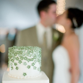 Wedding cake in shallow focus by Traverse City Wedding Photographer Thomas Kachadurian