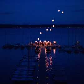 Wedding Lantern release on Big Glen Lake by Traverse City Wedding Photographer Thomas Kachadurian